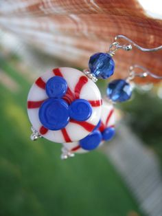Patriotic Red White Blue Mickey Mouse Icon Earrings Lampwork Jewelry Glass Beads Sterling Silver Earrings Disney Baseball. $28.00, via Etsy.