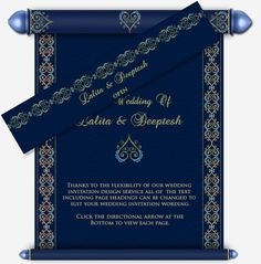 Scroll Email Wedding Card In Blue With Hearts