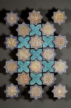 Lustreware Star (18 Tiles) Tile Panel, Ilkhanid, Iran, 14th century [Mouldedware Turquoise-Glazed Cross Tiles (7 Tiles) are modern]
