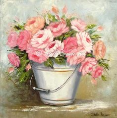 12-Beaux tableaux de Stella Bruwer Stella Art, Creation Photo, Decoupage Paper, Painting & Drawing, Planter Pots, Floral Wreath, Creations, Wreaths, Drawings