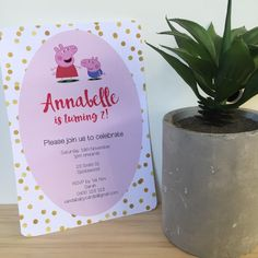 Printable Invitations, Custom Invitations, Party Invitations, Printables, Invite, Peppa Pig Birthday Invitations, Girl Birthday, Birthday Parties, Pig Party
