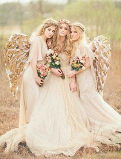 Three beautiful Angels with wings instead of Fairies.