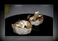 Cestas de ibérico y piña con gratinado de mayonesa