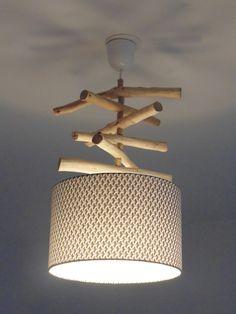 Lustre suspension plafonnier en bois flotté création unique