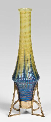 Loetz art glass vase in Secessionist metal tripod stand, 1902, Bakalowits pattern, aka pattern PG 85/5042, designed by Jutta Sika
