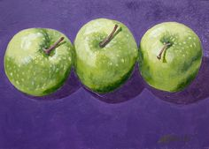 Three Granny Smith Apples Still Life Original by annarobertsart
