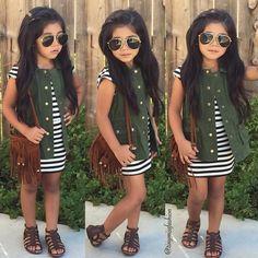 """#OOTD ✨ Stripe Dress: TJ Maxx Olive Vest: Target Sandals: Walmart Fringe Purse: @hipinkids #HappyWednesday """