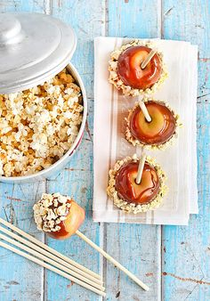 Salted Caramel Apples with Popcorn by raspberri cupcakes, via Flickr