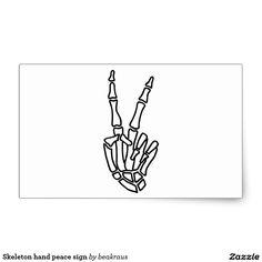 Skeleton hand peace sign rectangular sticker