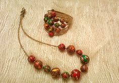 """Hand-made necklace and bracelet """"Mosaic"""". Yes, I made the beads. :)"""
