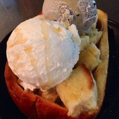 toasted butter sweet bread honey drizzled vanilla and black sesame ice cream japanese food dessert