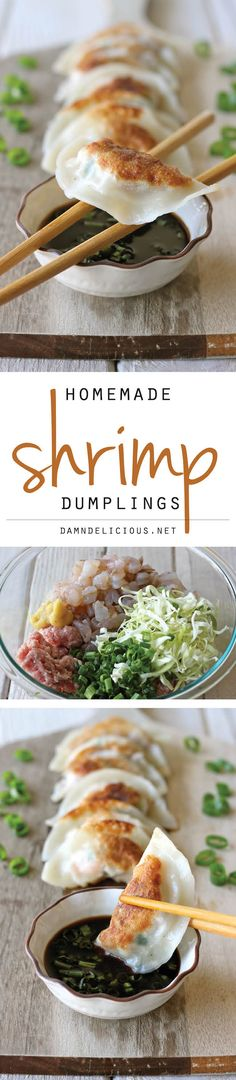 Dumplings Shrimp Dumplings - Homemade dumplings are easier to make than you think, and you can completely customize your fillings!Shrimp Dumplings - Homemade dumplings are easier to make than you think, and you can completely customize your fillings! Fish Recipes, Seafood Recipes, Asian Recipes, Appetizer Recipes, Cooking Recipes, Healthy Recipes, Asian Appetizers, Appetizer Party, Indonesian Recipes