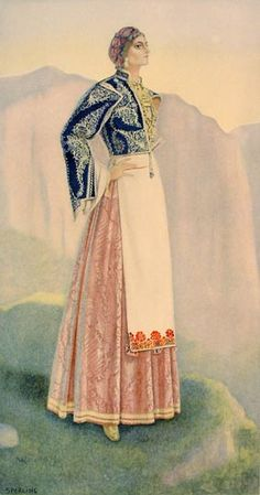 A sketch of a ladies costume from the region of sfakia Costume Shop, Folk Costume, Ancient Greek Costumes, Greek Traditional Dress, Greek Dress, Costume Collection, Period Outfit, Historical Costume, Fashion History