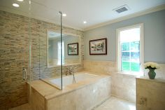 Photo of Home Pros Kitchen & Bath - Livermore, CA, United States. Tub/ bath combo, note seat for shower. Half wall to right is toilet. Tile honed travertine and mosaic. Tub Shower Combo, Shower Tub, Master Tub, Master Bathrooms, Mosaic Bathroom, Glass Shower Doors, Top Interior Designers, Color Tile, Kitchen And Bath