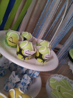 Fun cupcakes at a tennis birthday party! See more party ideas at CatchMyParty.com!