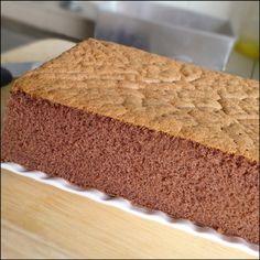 KitchenTigress: Chocolate Sponge CakeRecipe for one 20 x 12 x 5 cm cake) 170C   25 g corn oil  10 g Dutch-processed cocoa powder   10 g milk, cold  ⅛ tsp salt  ½ tsp vanilla extract   10 g glucose   105 g whole eggs  15 g egg yolk  80 g castor sugar  50 g cake flour  ⅛ tsp baking soda