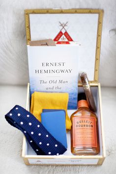 I like this idea. Maybe whiskey, cigar, tie, socks... in a wood box