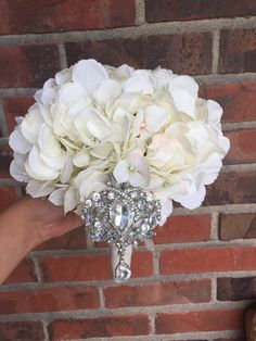 Hydrangea Brooch Bouquet - Bridal  Bouquet - Bridesmaids Bouquet - Keepsake Bouquet - pinned by pin4etsy.com
