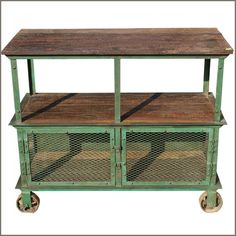 Reclaimed Wood Antique Iron Metal 3 Tier Industrial Factory Rolling Wheel Cart | eBay