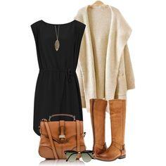 La robe noire est géniale et confortable. Les chaussures sont marron. Ces sons a la mode et plus jolie que des sandales. Le pull est grand et long. Le pull est génial avec la robe. Le sac est marron et grande. Les lunettes de soleil sont bon marche mais très chouette.
