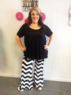 Black and White Chevron Pants - #blondellamydean #plussizefashion #plussize #curves
