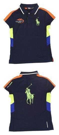 $39.5 - Ralph Lauren Girls US Open ThermoVent Big Pony Polo Shirt Navy #ralphlauren