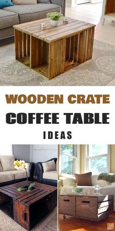 Do It Yourself — diytotry: 11 DIY Wooden Crate Coffee Table. Do It Yourself — diytotry: 11 DIY Wooden Crate Coffee Table. Coffee Table Design, Wooden Crate Coffee Table, Crate End Tables, Diy Wooden Crate, Rustic Coffee Tables, Diy Coffee Table, Diy Table, Wooden Crates Table, Pallette Coffee Table