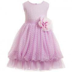 Aletta - Pale Lilac Tulle Dress with Flower Belt   Childrensalon
