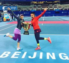 The top seeded pair of #SaniaMirza #MartinaHingis defeated the 6th seed #ChineseTaipei pair of  Hao-ching Chan and Yung-jan Chan 6-7, 6-1, 10-8 in #Beijing  #ChinaOpen #Tennis