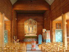 Interior of Skoklefall church, built in 1936, Norway