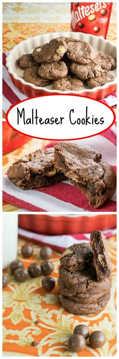 Malteaser Cookies recipe! Yum!!! A malted, chocolatey cookie studded with chunks of bashed up Malteasers. They are like fudgy brownies with a crinkly, chewy cookie coating - how can that not be cookie perfection?!
