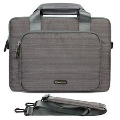 Evecase 13.3-Inch Chromebook Laptop Ultrabook Suit Fabric Multi-functional Briefcase Messenger Bag Computer Travel Carrying Case with Handles and Adjustable Shoulder Strap - Gray