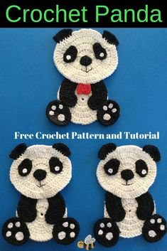 Get this free crochet panda pattern and video tutorial at Kerri's Crochet as well as many other crochet animal patterns. #CrochetPatterns #CrochetPanda #CrochetAnimals