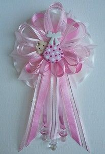 """Pink Flower Mommy Baby Shower Corsage by Fancy Little Favors 