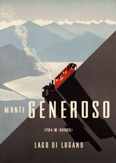 1939 Monte Generoso railway above the Lake of Lugano, in the Swiss canton of Ticino, Switzerland vintage travel poster Train Posters, Ski Posters, Cool Posters, Railway Posters, Retro Poster, Poster Ads, Poster Prints, Retro Print, Vintage Travel Posters