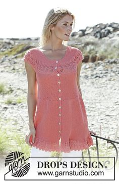 Knitted DROPS tunic worked sideways in garter st with lace pattern and buttons at the front in Safran. Size: S - XXXL
