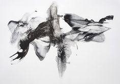 "Patti Jordan: ""Black-Fly"" (Corpus 018)  2013 Ink and Graphite on paper 48"" x 28"""