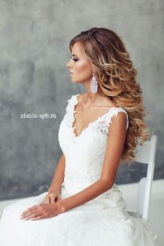 These pretty wedding hairstyles form Elstile are all we could ever want when it comes to bridal beauty. Whether you're looking for wedding hairstyles for long hair, short or another length in between, at least one of . Wavy Wedding Hair, Long Hair Wedding Styles, Long Wavy Hair, Wedding Hairstyles For Long Hair, Bride Hairstyles, Prom Hair, Trendy Hairstyles, Long Hair Styles, Flower Hairstyles