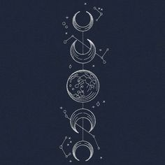 Vintage Celestial - Moon Phases | Urban Threads: Unique and Awesome Embroidery Designs
