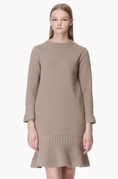 Pearl pont cuffs knit dress