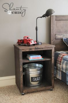 DIY Nightstand - Shanty 2 Chic ☺ - ☝Many of you know that I have 5 kiddos. My youngest (and by far craziest) little guy turned two a few months ago. I have been avoiding putting him in a big boy bed because I knew that basically meant the end of my life. Diy Wood Projects, Furniture Projects, Furniture Plans, Wood Furniture, Home Projects, Bedroom Furniture, Furniture Repair, Outdoor Furniture, Furniture Storage