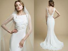 AIOLA/mermaid wedding dress/low back wedding dress/flowers