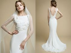 AIOLA/mermaid wedding dress/low back wedding dress/flowers wedding dress/floral wedding dress