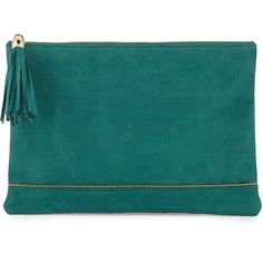 Neiman Marcus Tassel-Detailed Perforated Faux-Suede Zip Clutch ($33) ❤ liked on Polyvore featuring bags, handbags, clutches, purses, bolsas, jade, blue handbags, zipper purse, blue hand bag and man bag