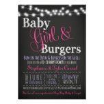 Baby Girl Burgers BBQ Shower Invitation Book Card