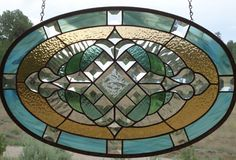 """stained glass window panel""""BEVELED BEAUTY"""" beveled glass,antique glass,oval…"""