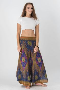 Peacock Eyes Palazzo Style Harem Pants in Dark Blue