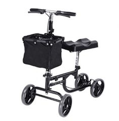 AW Adjustable Knee Scooter Walker w/ Basket Steerable Rolling Wheel Weight Capacity 300 lbs Features:Padded Contoured Knee Platform with Easy Folding Mechanism Walker Medical, Knee Scooter, Rolling Makeup Case, Broken Foot, Mobility Aids, Crutches, Knee Injury, Black Knees, Rolls