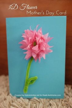 3D Flower Mother's Day Card   Mother's Day craft   3D Flower Craft   Real Life at Home