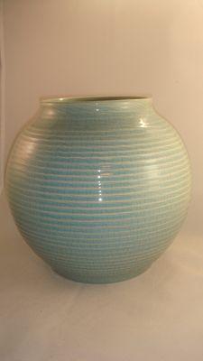 ADCO - 1012 turquoise craquelé vaas Midden 20e eeuw. Hoogte 21,5 cm